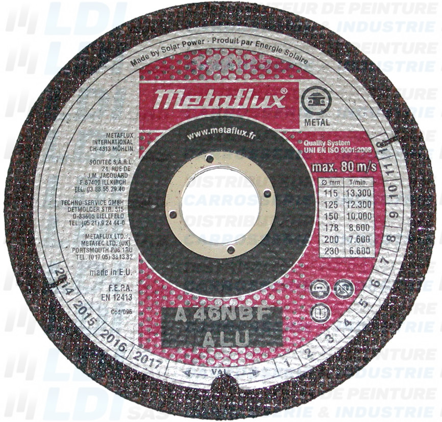 DISQUE TRONC PLAT METAFLUX 125X1.6 X22.23MM