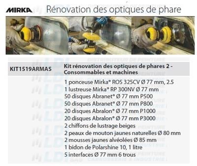 KIT RENOVATION DES OPTIQUES DE PHARES 2